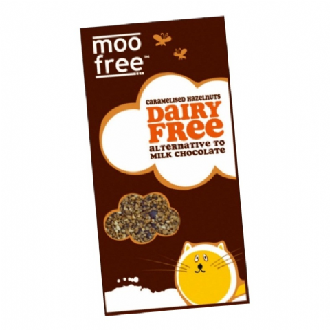Caramelised Hazelnuts - Organic Dairy Free Milk Chocolate Alternative MOO FREE 100g